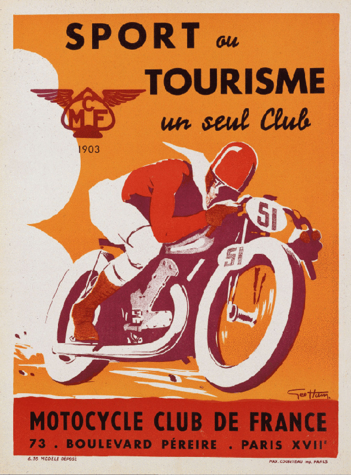 French motorcycle poster vintage ocd for Poster deco cuisine