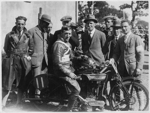 Bennett at finish of 1925 T.T. He finished 3rd.