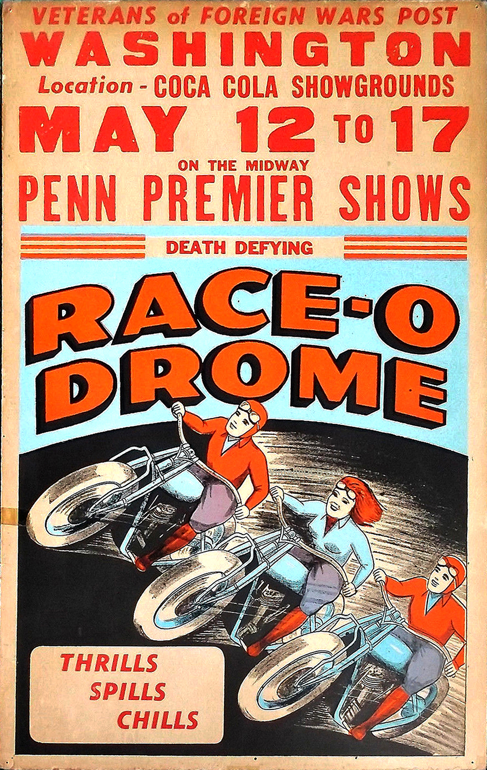 Race O Drome Wall Of Death Poster Vintage Ocd